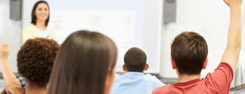 classroom, raising hand