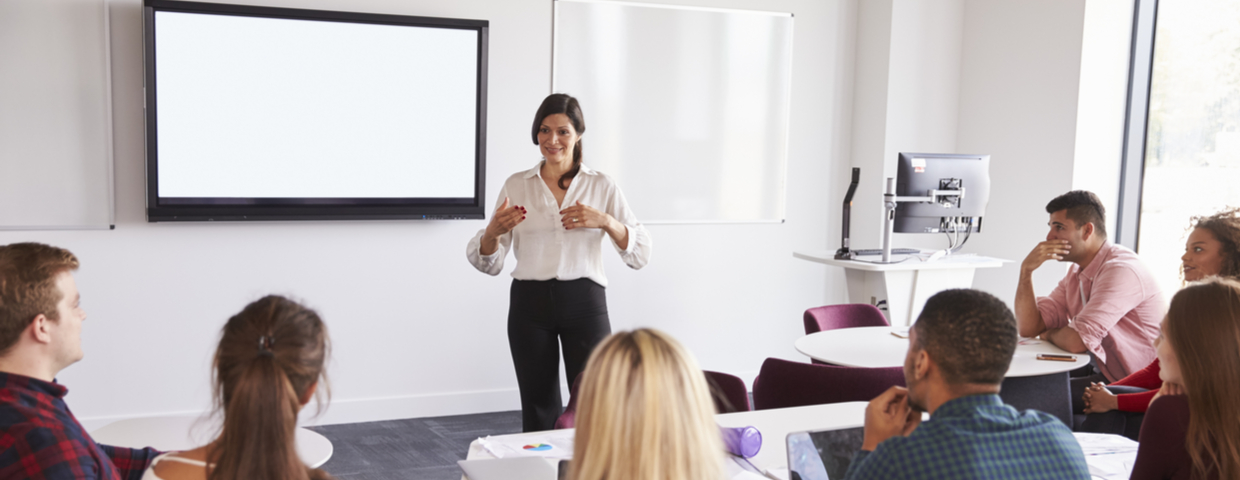 woman lecturing in classroom
